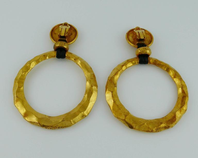 Chanel Vintage Rare Massive Hammered Hoop Dangle Earrings as seen on Beyonce For Sale 3