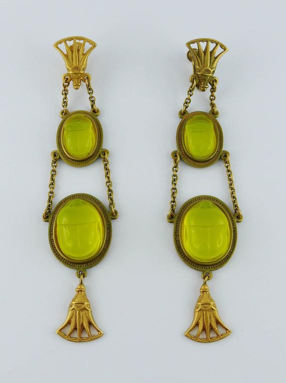 Christian Dior by John Galliano Egyptian Revival Scarab Dangle Earrings 3