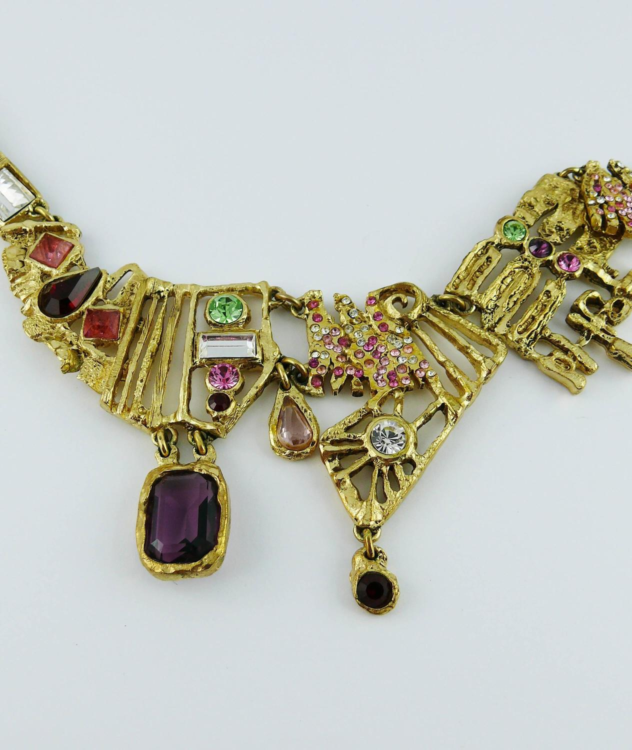 Christian Lacroix Vintage Bejeweled Brutalist Necklace at ...
