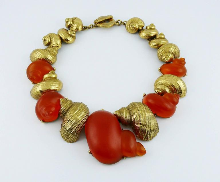 Christian Dior by Robert Goossens Vintage Rare Shell Necklace Dune 1987 3