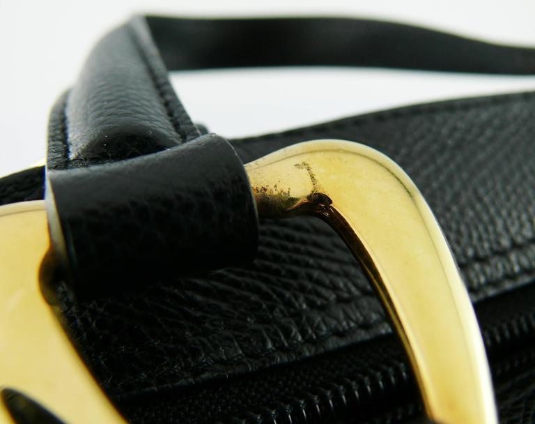 Yves Saint Laurent YSL Vintage Black Leather Arabesque Handbag For Sale 6