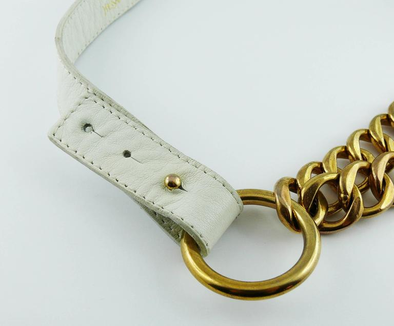 Yves Saint Laurent Vintage White Leather And Chain Belt