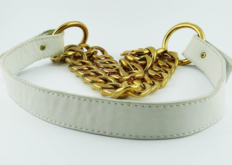 Yves Saint Laurent Vintage White Leather and Chain Belt 8