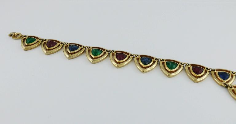 Christian Dior Vintage Gold Toned Faux Ruby Emerald and Sapphire Set For Sale 2