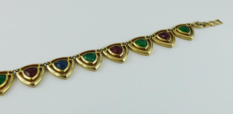 Christian Dior Vintage Gold Toned Faux Ruby Emerald and Sapphire Set For Sale 1