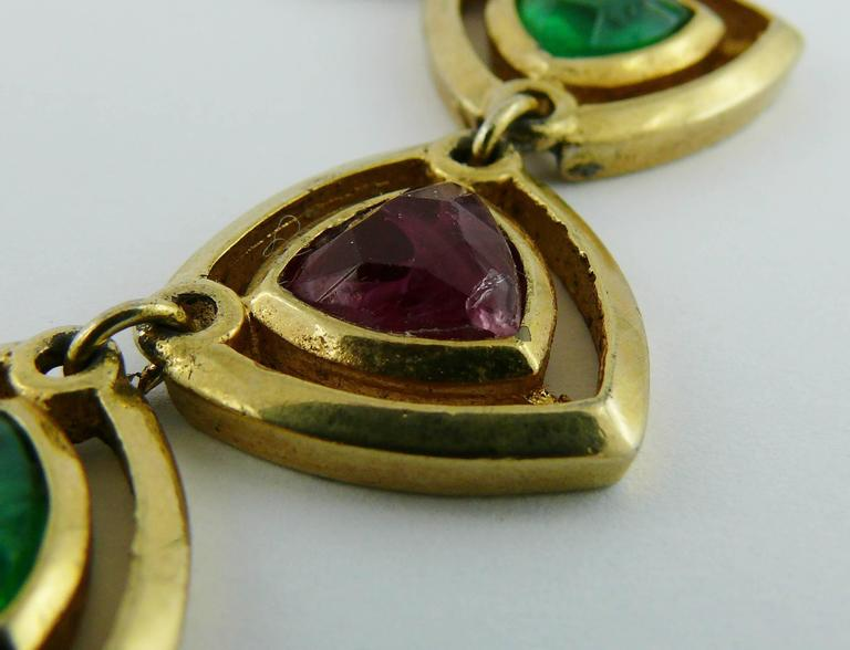 Christian Dior Vintage Gold Toned Faux Ruby Emerald and Sapphire Set For Sale 6