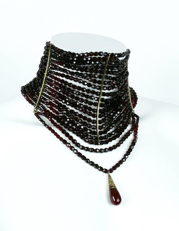 Christian Dior Iconic Multi Strand Edwardian Inspired Red Glass Choker Necklace 3