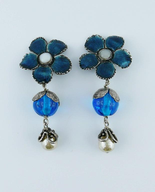 Women's Yves Saint Laurent Vintage Enameled Flower Dangling Earrings For Sale