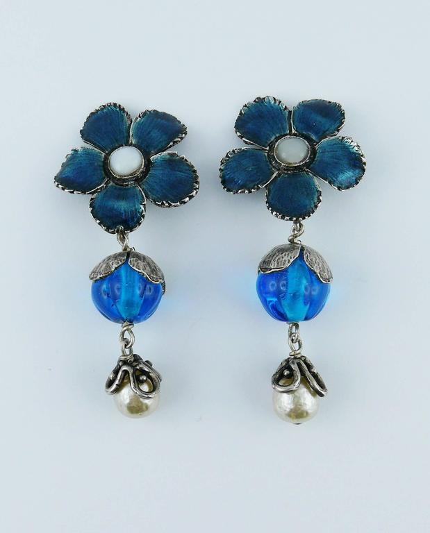 Yves Saint Laurent Vintage Enameled Flower Dangling Earrings 4