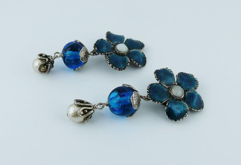 Yves Saint Laurent Vintage Enameled Flower Dangling Earrings For Sale 1