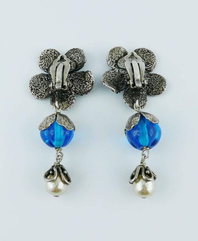 Yves Saint Laurent Vintage Enameled Flower Dangling Earrings For Sale 2