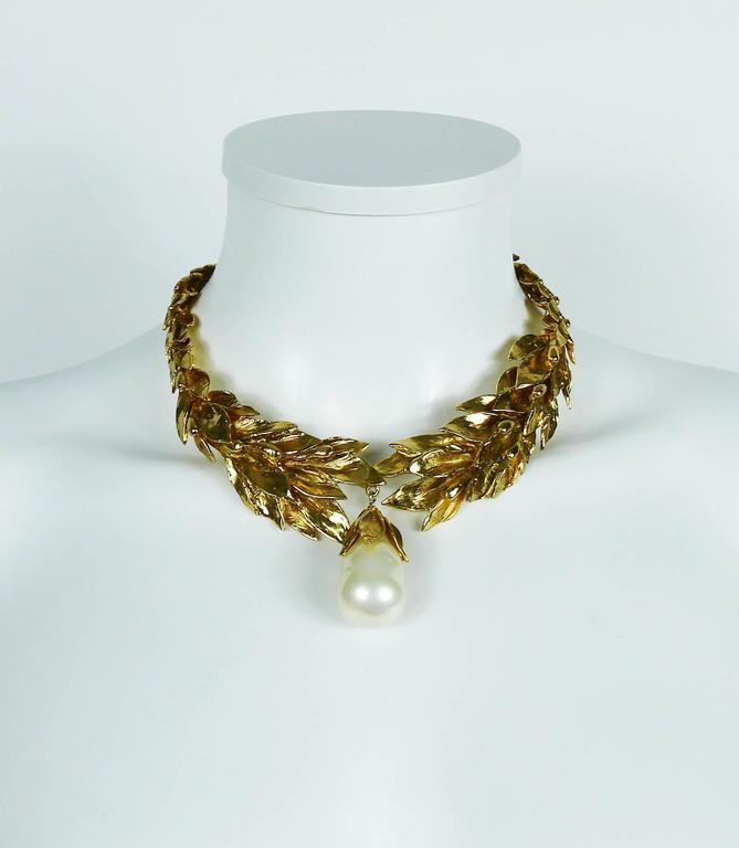 Yves Saint Laurent YSL Vintage Gold Toned Necklace 2