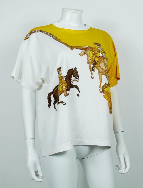 """Hermès Vintage """"Reprise"""" Print Cotton T-Shirt 7"""