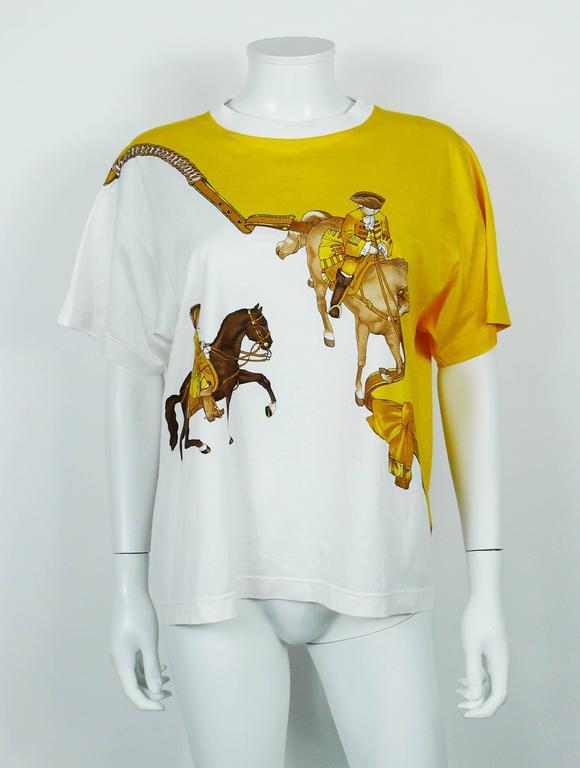 """Hermès Vintage """"Reprise"""" Print Cotton T-Shirt 3"""