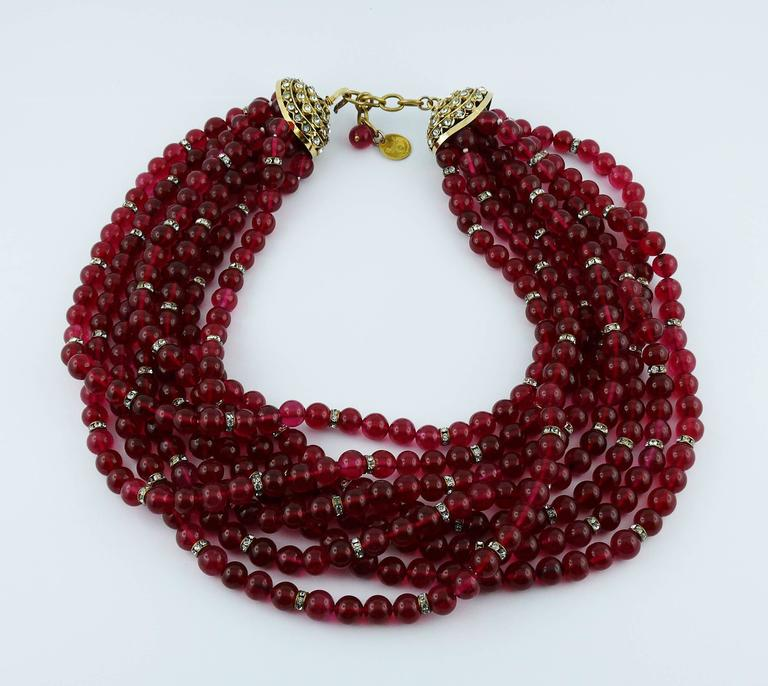 Chanel Vintage 1970s Multi-Strand Ruby Glass Necklace 3