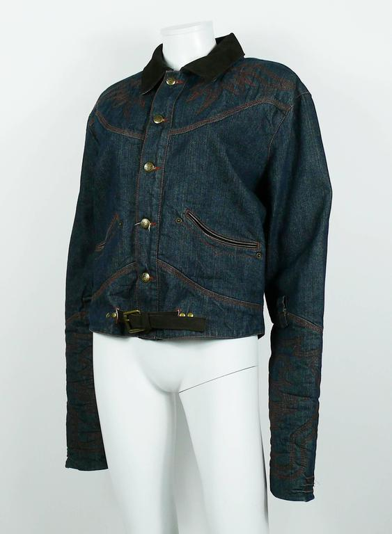 Jean Paul Gaultier Men's Western-style Cowboy Denim Jacket USA Size 32 For Sale 3