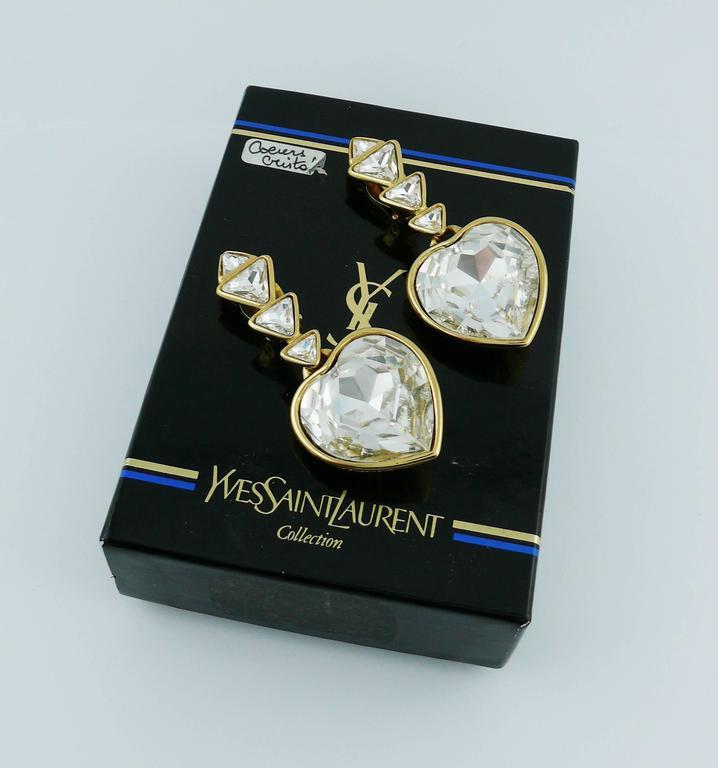 Yves Saint Laurent YSL Vintage Massive Diamante Heart Dangling Earrings 4