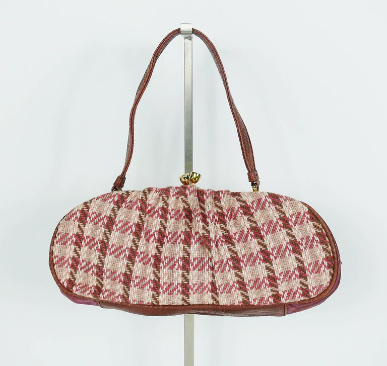 Women's Christian Lacroix Vintage Tweed and Tartan Handbag For Sale