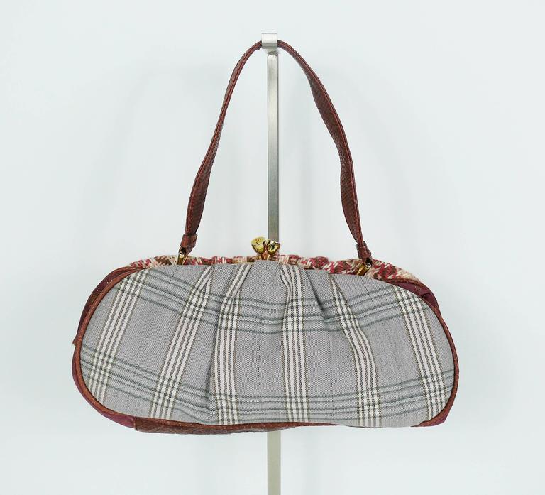 Brown Christian Lacroix Vintage Tweed and Tartan Handbag For Sale