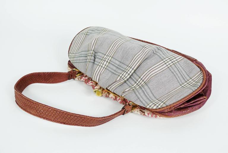 Christian Lacroix Vintage Tweed and Tartan Handbag For Sale 1