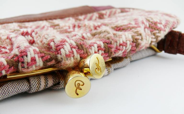 Christian Lacroix Vintage Tweed and Tartan Handbag For Sale 3