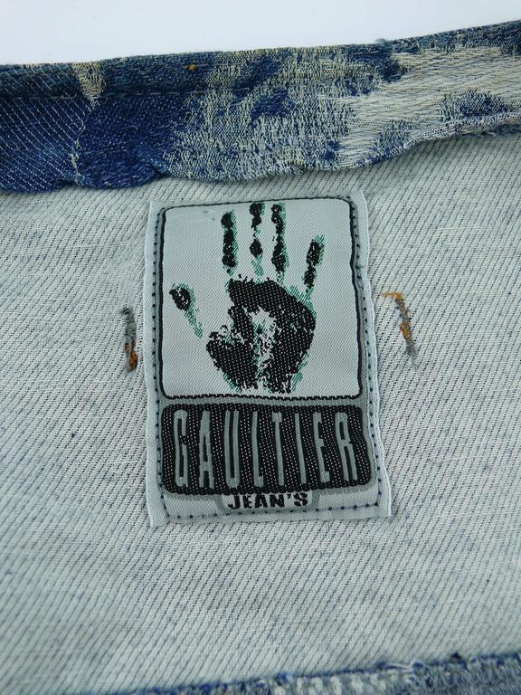f51b4d9d6d49b Jean Paul Gaultier Vintage Iconic Face Jacquard Denim Vest at 1stdibs
