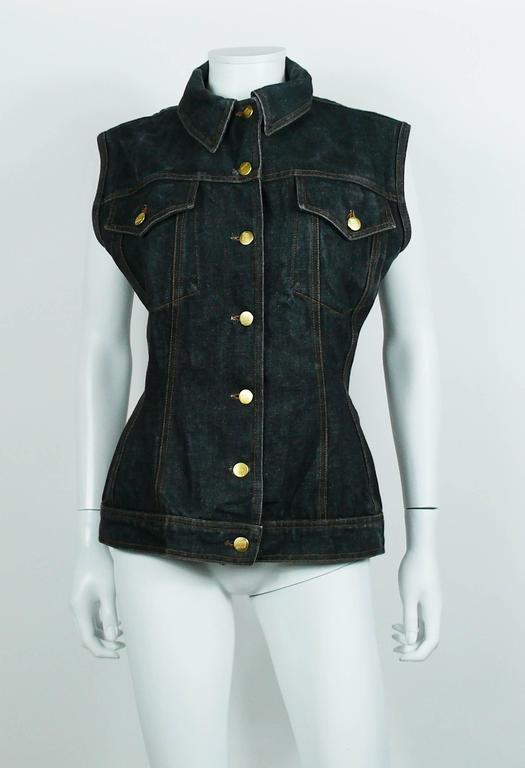 Jean Paul Gaultier Vintage Iconic  Black Denim Corset Style Sleeveless Jacket For Sale 1