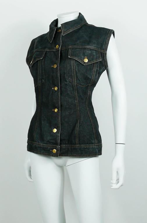 Jean Paul Gaultier Vintage Iconic  Black Denim Corset Style Sleeveless Jacket 7