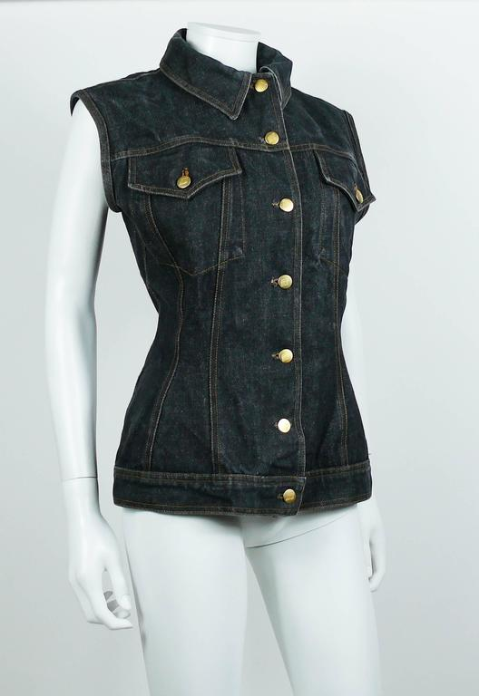 Jean Paul Gaultier Vintage Iconic  Black Denim Corset Style Sleeveless Jacket In Good Condition For Sale In French Riviera, FR