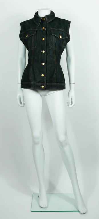 Women's or Men's Jean Paul Gaultier Vintage Iconic  Black Denim Corset Style Sleeveless Jacket For Sale