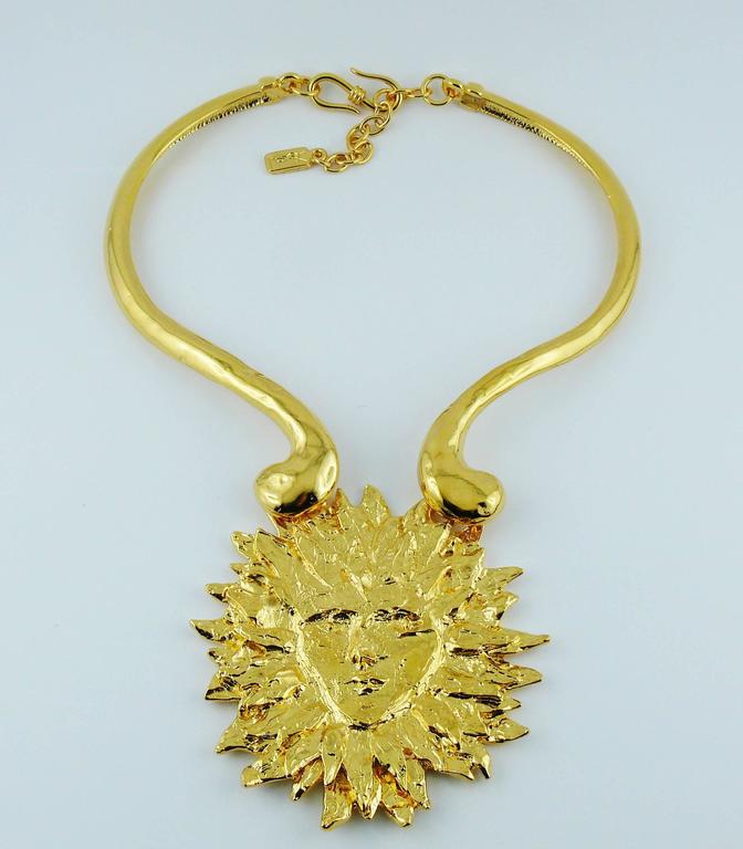 01eee5697f7 Yves Saint Laurent YSL Robert Goossens Vintage Rare Sun Face Chocker  Necklace In Excellent Condition For
