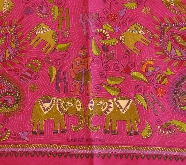 Brown Hermès Rare Silk Carre Scarf