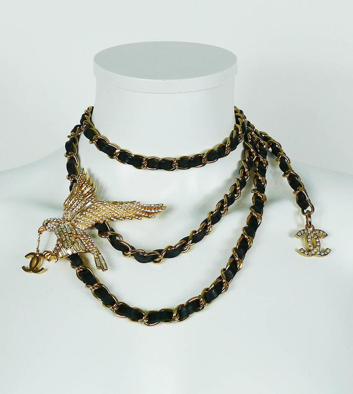 Chanel Rare Jewelled Eagle Black and Gold Runway Belt or Necklace In Excellent Condition For Sale In French Riviera, FR