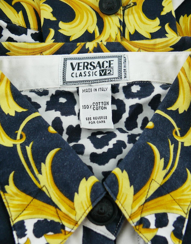 d2be8e3bbbc7 Versace Classic V2 Vintage Baroque Leopard Print Cotton Shirt Unisex Size 42  For Sale at 1stdibs