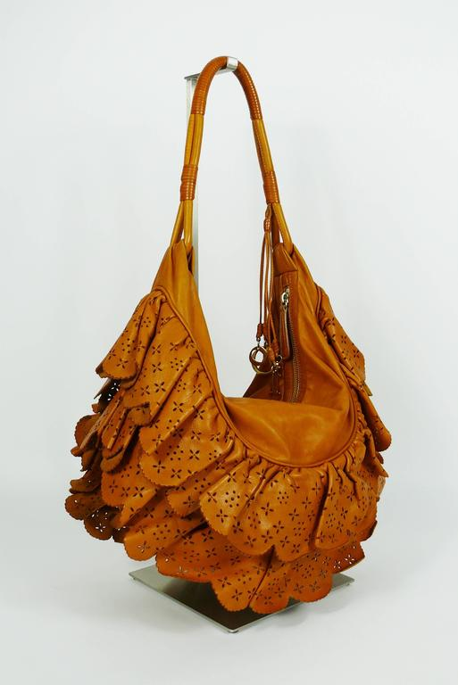 3830947665e3 Brown Christian Dior by John Galliano Washed Cognac Leather Gypsy Ruffle Bag  For Sale