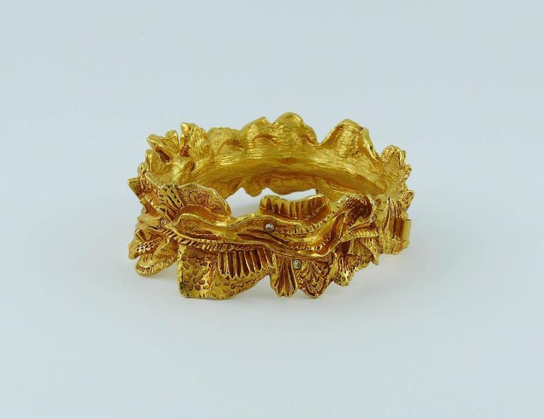 Christian Lacroix Vintage Textured Gold Tone Ribbon Bow Clamper Bracelet For Sale 1