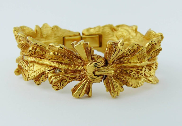 Christian Lacroix Vintage Textured Gold Tone Ribbon Bow Clamper Bracelet 4