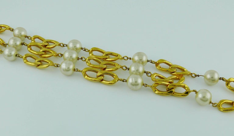 Beige Chanel Vintage Rare 1988 Pearl Tassel Chain Belt For Sale
