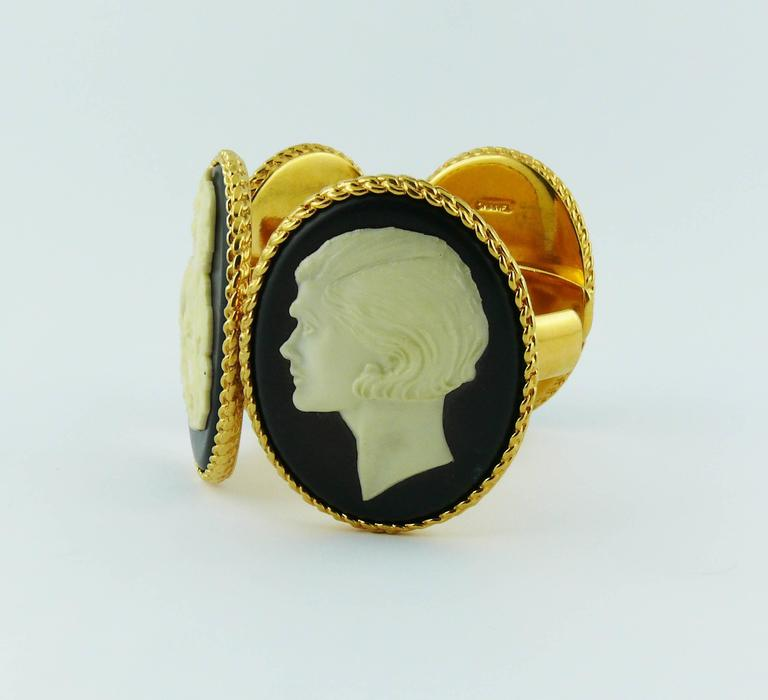 Chanel Vintage Uber Rare Cameo Cuff Bracelet Collector For Sale 1