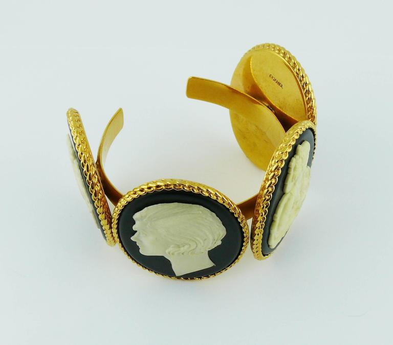 Chanel Vintage Uber Rare Cameo Cuff Bracelet Collector For Sale 3