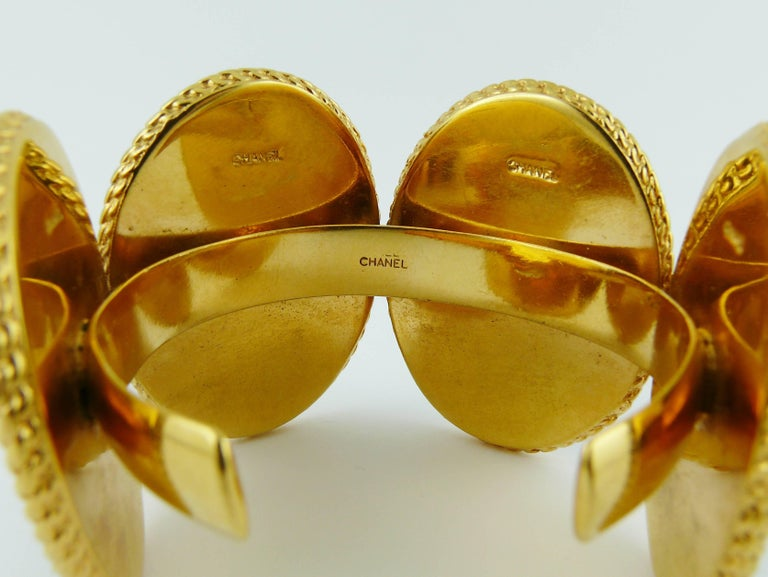 Chanel Vintage Uber Rare Cameo Cuff Bracelet Collector For Sale 5