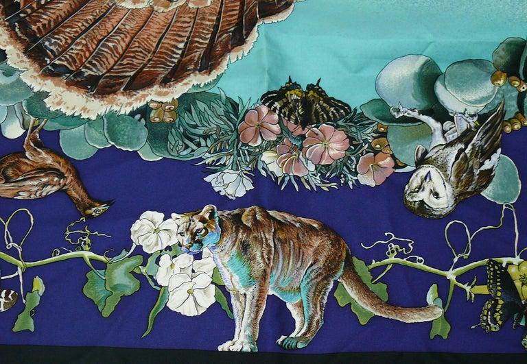 """Hermes Rare Silk Carre Scarf """"Faune et Flore du Texas """" by Kermit Oliver 5"""