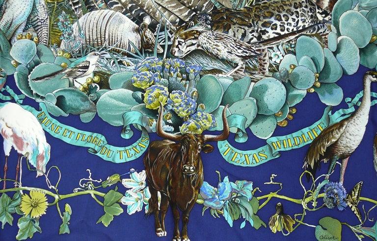 """Hermes Rare Silk Carre Scarf """"Faune et Flore du Texas """" by Kermit Oliver 6"""