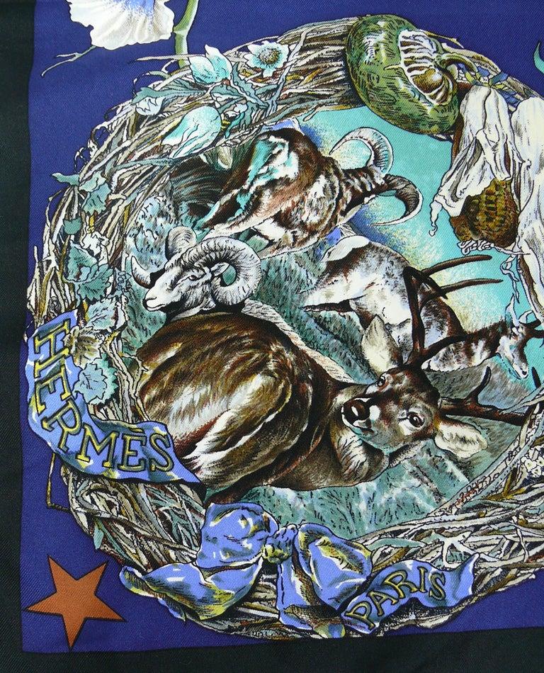"""Hermes Rare Silk Carre Scarf """"Faune et Flore du Texas """" by Kermit Oliver 8"""