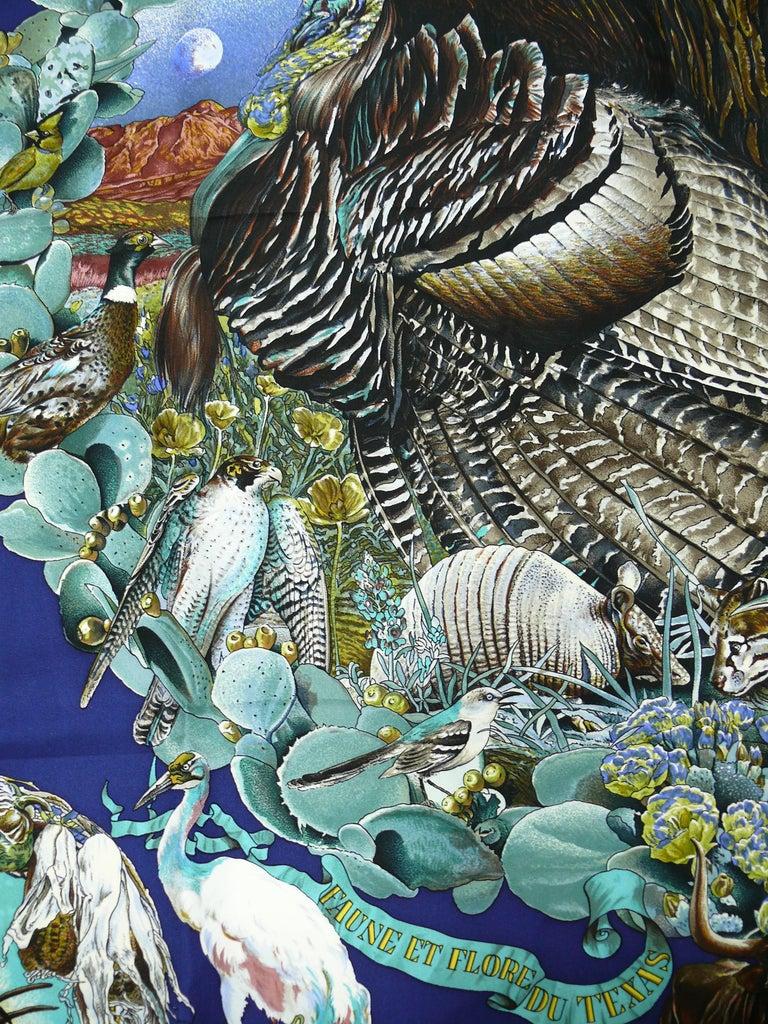 """Hermes Rare Silk Carre Scarf """"Faune et Flore du Texas """" by Kermit Oliver 3"""