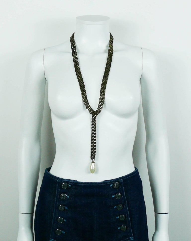 Chanel Lariat Chain Belt with Large Glass Pearl Drop For Sale 1