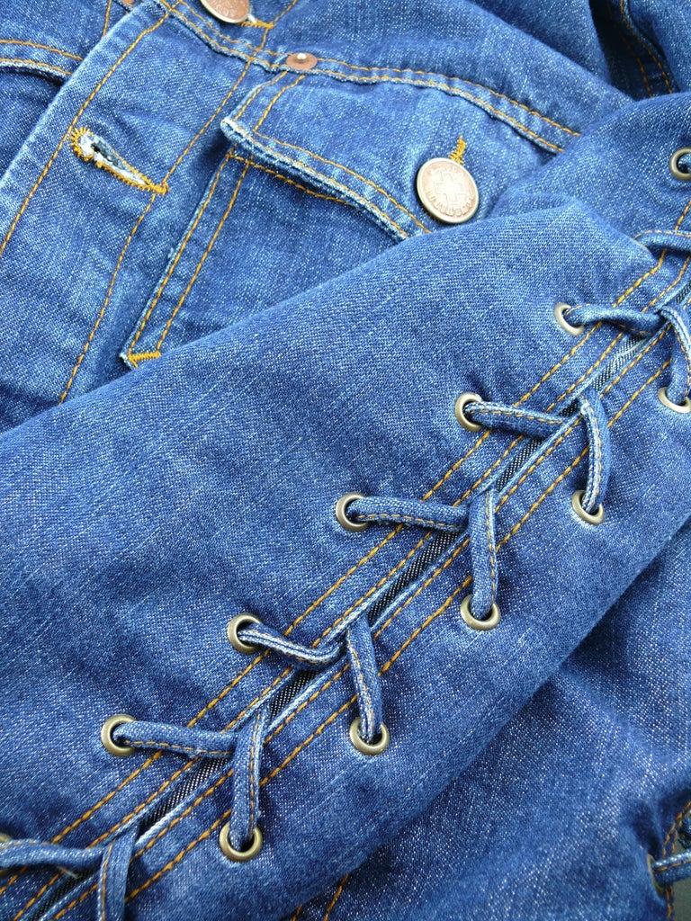 Jean Paul Gaultier Vintage Laced Denim Cropped Jacket For Sale 5