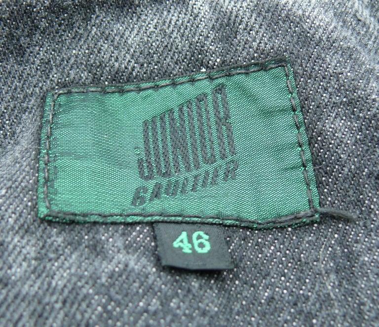 Jean Paul Gaultier Junior Vintage Black Denim Iconic Corset Style Jacket For Sale 5