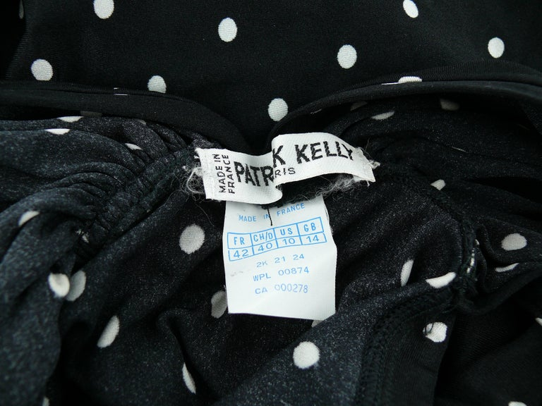 Patrick Kelly Vintage Black White Polka Dot Dress US Size 10 For Sale 6