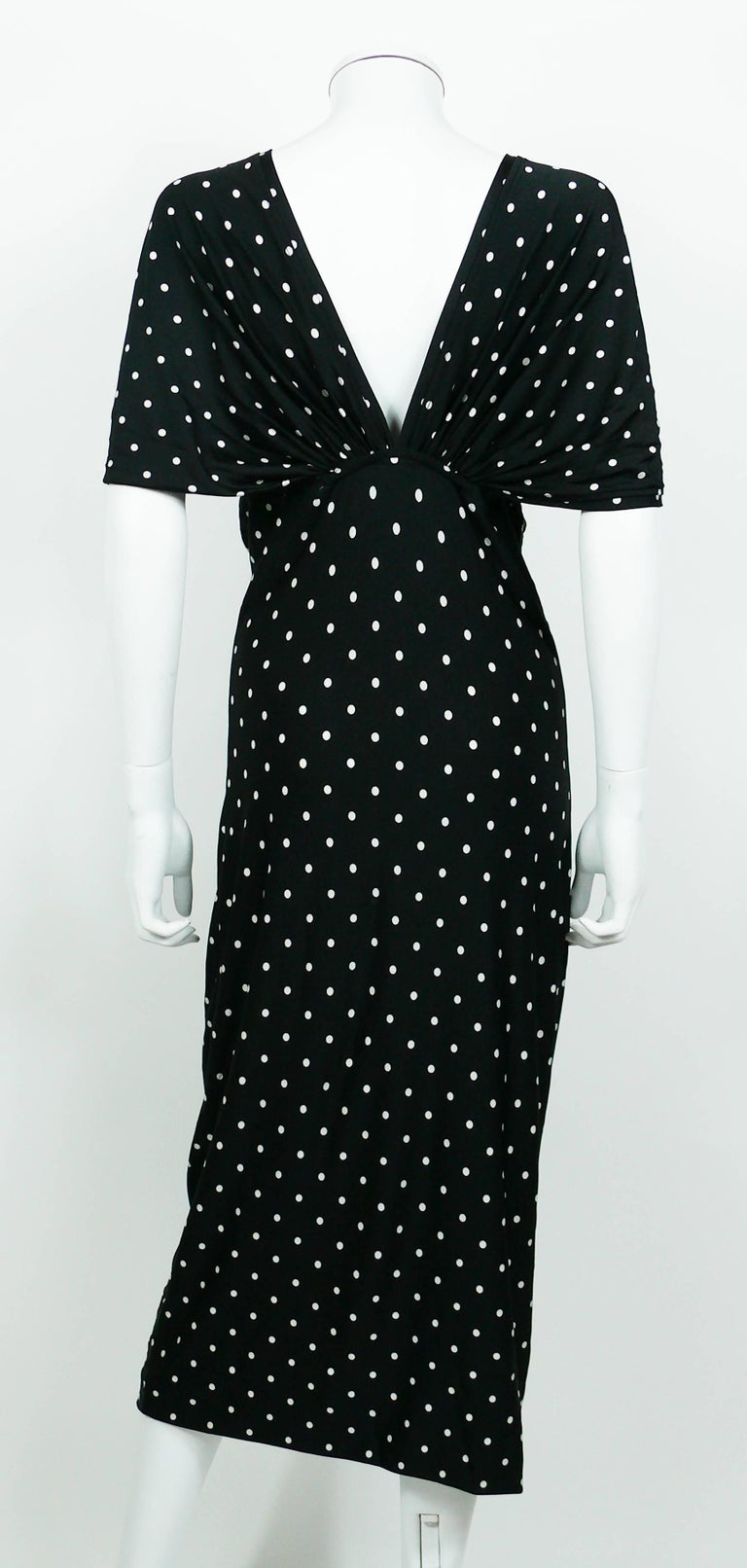 Patrick Kelly Vintage Black White Polka Dot Dress US Size 10 For Sale 5